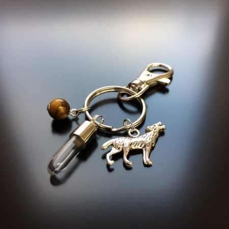 rice writing rice charm key ring with wolf charm and tigers eye crystal